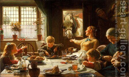 One Of The Family by Frederick George Cotman - Reproduction Oil Painting