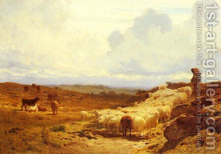 A Shepherd and his Flock by Auguste Bonheur - Reproduction Oil Painting