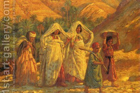 Arab Women and Children by Alphonse Etienne Dinet - Reproduction Oil Painting