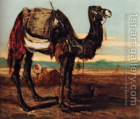 A Bedouin And A Camel Resting In A Desert Landscape by Alexandre Gabriel Decamps - Reproduction Oil Painting