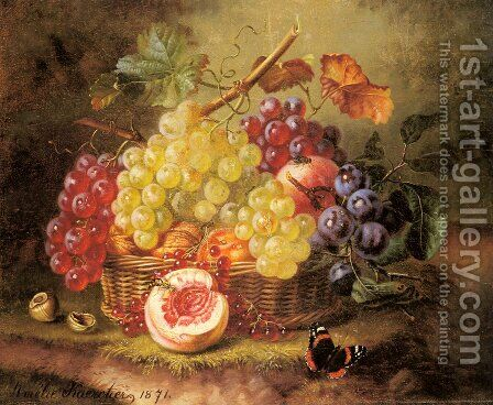 A Still Life with Grapes, Peaches and a Butterfly on a Mossy Bank by Amalie Kaercher - Reproduction Oil Painting