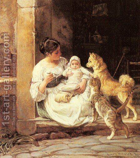 Feeding the Baby by Axel Helsted - Reproduction Oil Painting