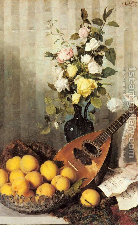 A Still Life with a Vase of Roses, a Bowl of Peaches and a Mandolin by Angelo Martinetti - Reproduction Oil Painting