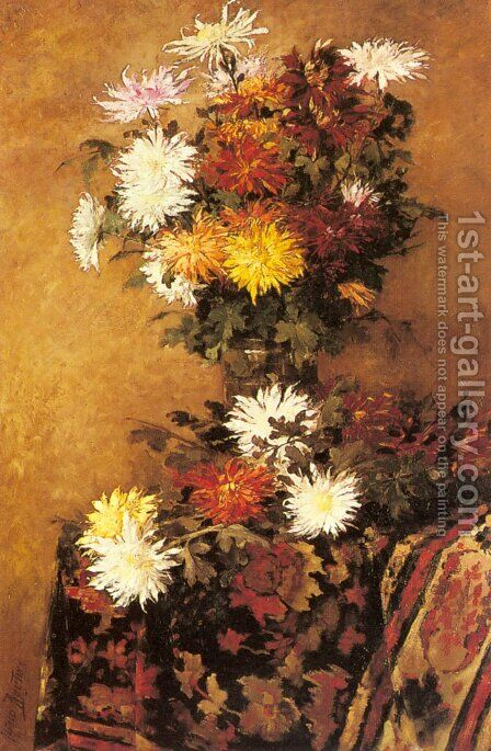 A Vase of Chrysanthemums by Alfred Ruytinx - Reproduction Oil Painting
