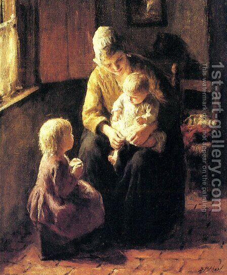 Minding the Baby by Jacob Simon Hendrik Kever - Reproduction Oil Painting