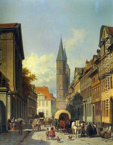 A Busy Street in a German Town by Jacques Carabain - Reproduction Oil Painting