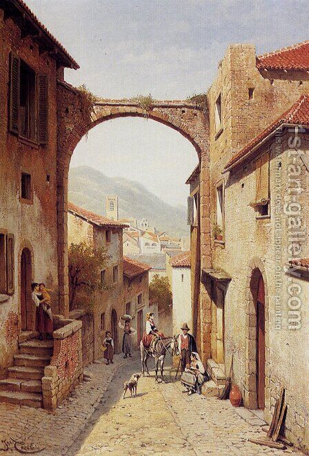 Rue A Narni, Italy by Jacques Carabain - Reproduction Oil Painting