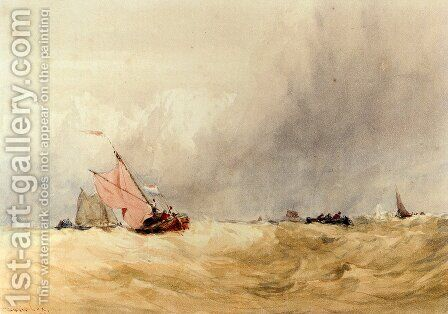 Shipping On The Sheldt, Dort Church In The Distance by David Cox - Reproduction Oil Painting