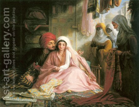Moroccan Courtship by Edward F. Green - Reproduction Oil Painting