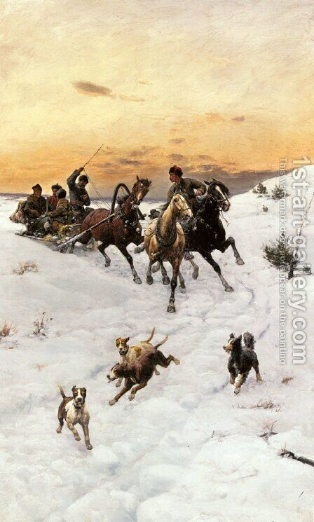 Figures in a Horse drawn Sleigh in a Winter Landscape by Bodhan Von Kleczynski - Reproduction Oil Painting
