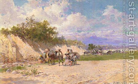 The Gypsy Camp by Baldomer Galofre Giménez - Reproduction Oil Painting