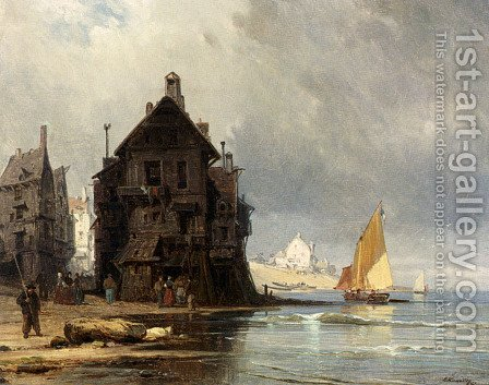 A Coastal Scene In Normandy by Charles Euphrasie Kuwasseg, Jr. - Reproduction Oil Painting