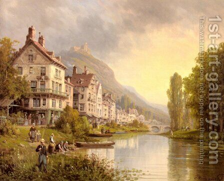 Au Bord De La Riviere by Charles Euphrasie Kuwasseg, Jr. - Reproduction Oil Painting