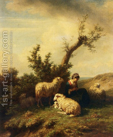 A Shepherdess And Her Flock by Edmond Jean Baptiste Tschaggeny - Reproduction Oil Painting