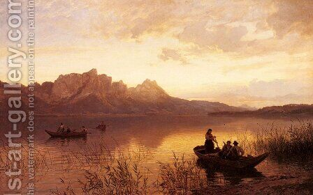 Drachenwand On The Mondsee by Hans Fredrik Gude - Reproduction Oil Painting