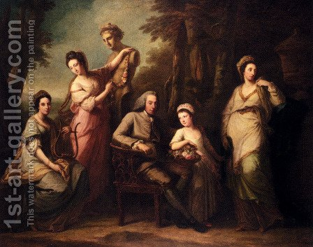 Portrait Of Philip Tisdal With His Wife And Family by Angelica Kauffmann - Reproduction Oil Painting