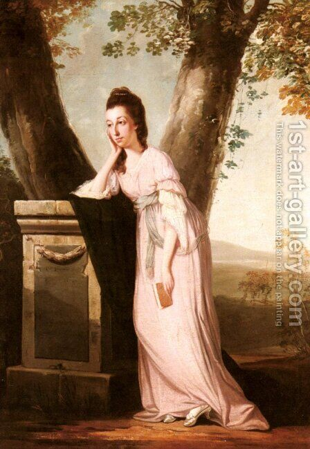 Portrait of a Lady, said to be Thesesa Parker (1744-1775), Wife of John Parker, Later Lord Borington by Benjamin Wilson - Reproduction Oil Painting