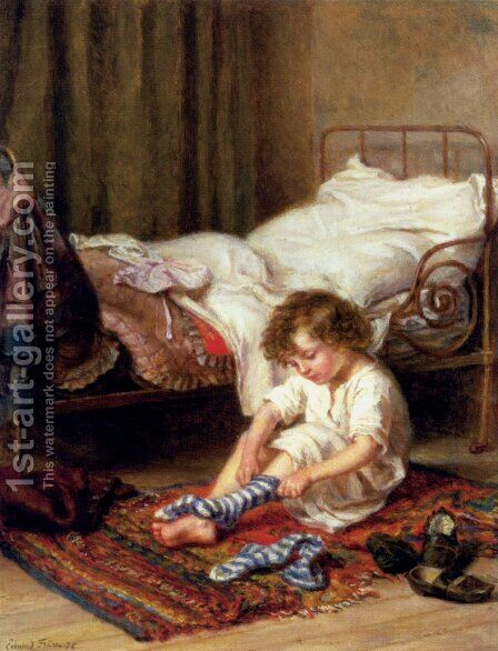Getting Up by Edouard Frère - Reproduction Oil Painting
