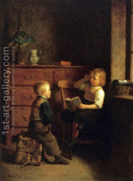 A Good Story by Edouard Frère - Reproduction Oil Painting