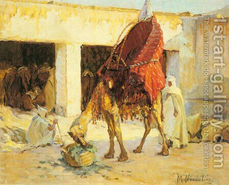 Arabs and Camels in a Courtyard by Marie Nivoulies - Reproduction Oil Painting