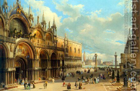 St. Marks and the Doges Palace, Venice by Carlo Grubacs - Reproduction Oil Painting
