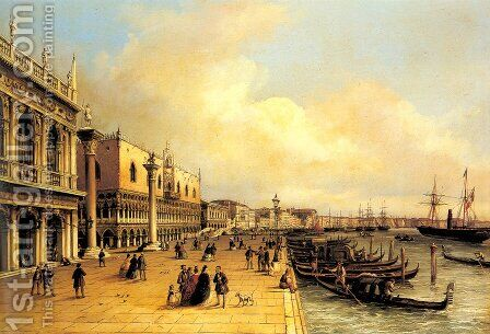 A View of the Doges Palace by Carlo Grubacs - Reproduction Oil Painting