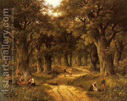 Peasants Preparing a Meal near a Wooded Path by Hendrik Barend Koekkoek - Reproduction Oil Painting