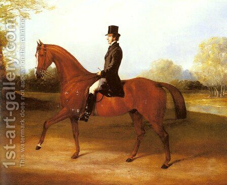 Richard Paget of Cropston, Leicester on a Bay Hunter by Henry Barraud - Reproduction Oil Painting