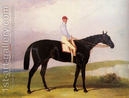 Ellinton, a dark Bay Racehorse, with Tom Aldcroft up by Harry Hall - Reproduction Oil Painting