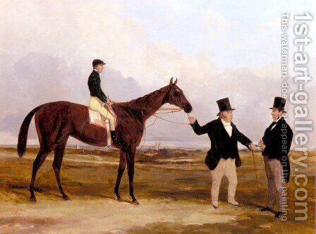 Mr. Martinson's Nancy With Job Marson, Jr. Up And The Trainer Job Marson, Sr. by Harry Hall - Reproduction Oil Painting