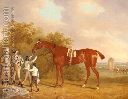 Mr. Watt's Altisidora, Winner of the 1813 St. Leger by Clifton Tomson - Reproduction Oil Painting