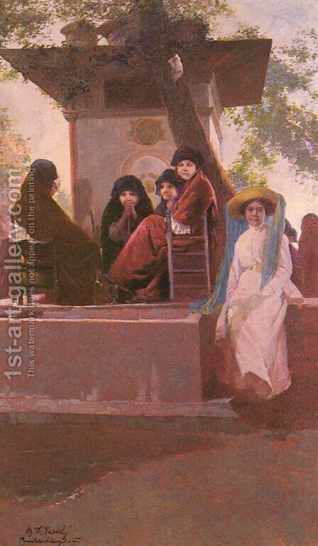 At the Temple of Sweet Waters by Boris-Theo Vessely - Reproduction Oil Painting