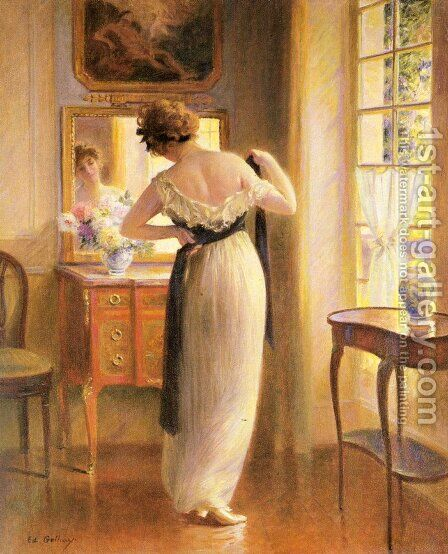 The Reflection by Edouard Gelhay - Reproduction Oil Painting
