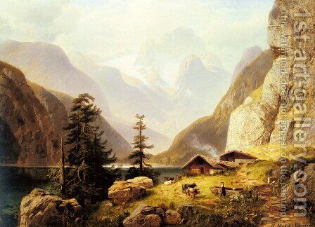 An Alpine Valley by Horst Hacker - Reproduction Oil Painting