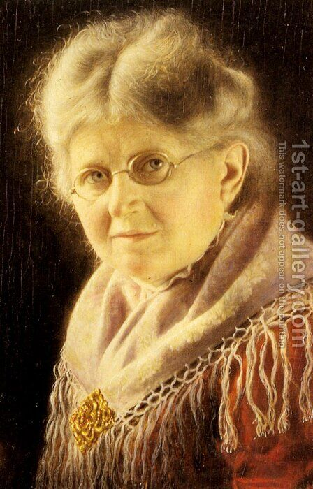 Portrait of an Elderly Woman by Carl Heuser - Reproduction Oil Painting