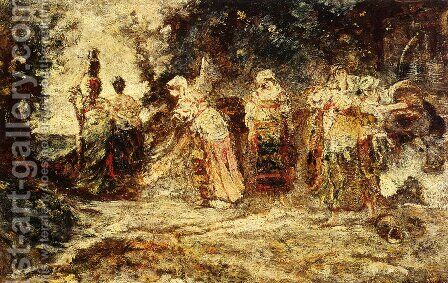 At The Well by Adolphe Monticelli - Reproduction Oil Painting