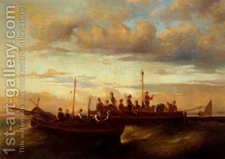 Italian Fishing Vessels at Dusk by Adolphe Monticelli - Reproduction Oil Painting