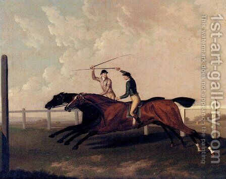 The Match Race At Epsom Between Little Driver And Aaron, May 16, 1754 by Charles Towne - Reproduction Oil Painting