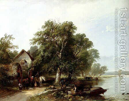 River Landscape With Figures Loading A Boat by Henry John Boddington - Reproduction Oil Painting