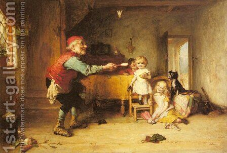 Games with Grandfather by Alexander Hohenlohe Burr - Reproduction Oil Painting