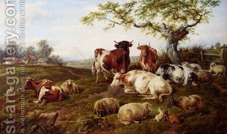 Resting Cattle, Sheep And Deer, A Farm Beyond by Charles Jones - Reproduction Oil Painting