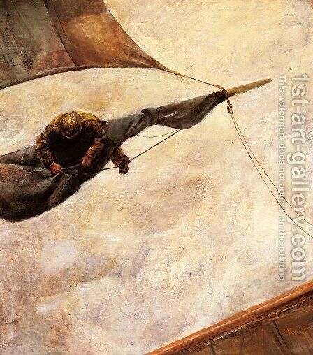 Fixing The Sail by Christian Krohg - Reproduction Oil Painting