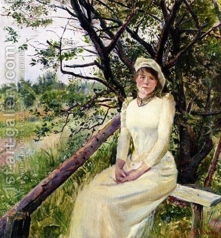 Ung Kvinne Pa En Benk (Young Woman on a Bench) by Christian Krohg - Reproduction Oil Painting