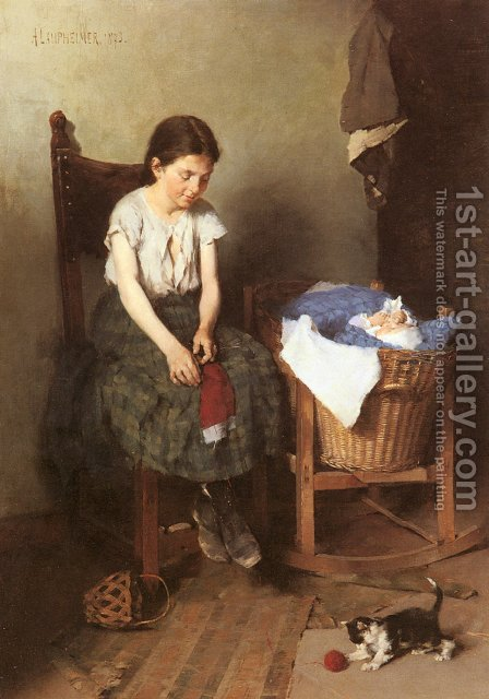 Die Grosse Schwester (The Older Sister) by Anton Laupheimer - Reproduction Oil Painting