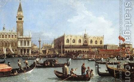 Return of the Bucentaurn to the Molo on Ascension Day by (Giovanni Antonio Canal) Canaletto - Reproduction Oil Painting