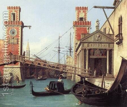 View of the Entrance to the Arsenal (detail) by (Giovanni Antonio Canal) Canaletto - Reproduction Oil Painting