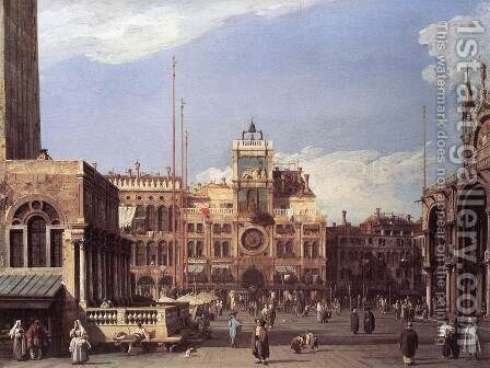 Piazza San Marco: the Clocktower by (Giovanni Antonio Canal) Canaletto - Reproduction Oil Painting