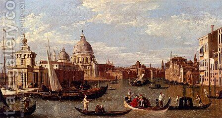 View Of The Grand Canal And Santa Maria Della Salute With Boats And Figures In The Foreground, Venice by (Giovanni Antonio Canal) Canaletto - Reproduction Oil Painting