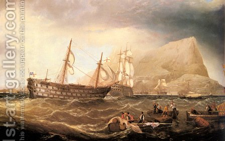 HMS Victory being towed into Gibraltar by HMS Neptune after the battle of Trafalgar by Charles Keith Miller - Reproduction Oil Painting