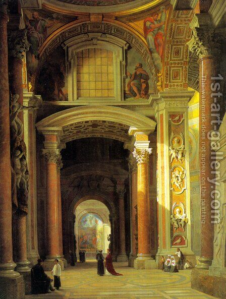 Interior of St. Peters, Rome by Heinrich Hansen - Reproduction Oil Painting